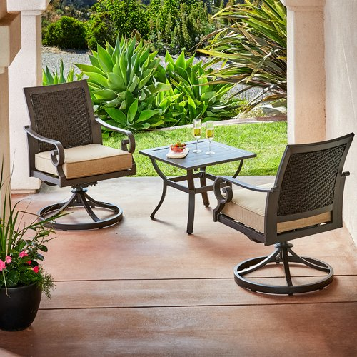 Bayou Breeze Kingston Seymour Milano 3 Piece Bistro Set with Cushions by