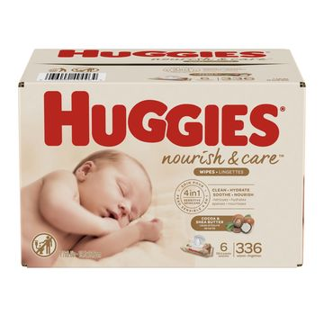 Huggies Nourish & Care Baby Wipes, 3 Flip-Top Packs, 56Ct (168 Wipes)