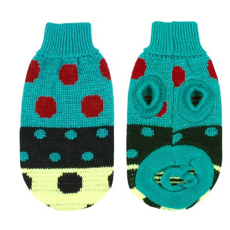 Unique Bargains Turtleneck Polka Dot Knitwear Pet Dog Sweater Clothes Apparel Teal Green M