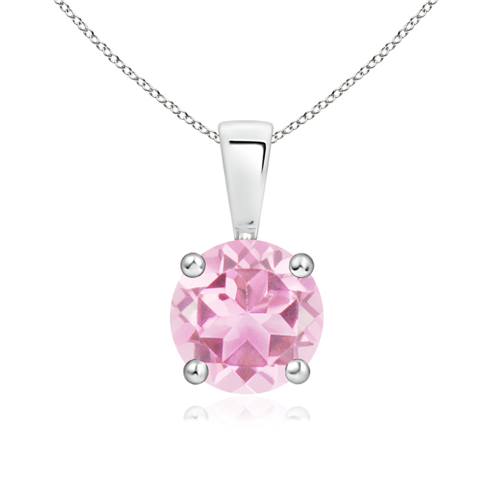 Prong Set Round Pink Tourmaline Solitaire Pendant in Silver (7mm Pink Tourmaline) SP0108PT-SL-A-7 Angara Necklace... by Angara.com