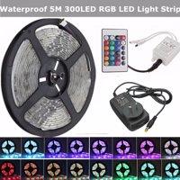 Waterproof DC12V 5M/16.4ft 300 LED RGB Color Changing 3528 LED Flexible Light Strip + 24 Key IR Remote Christmas Deco Xmas LED Strip Car Home Decorative IP65