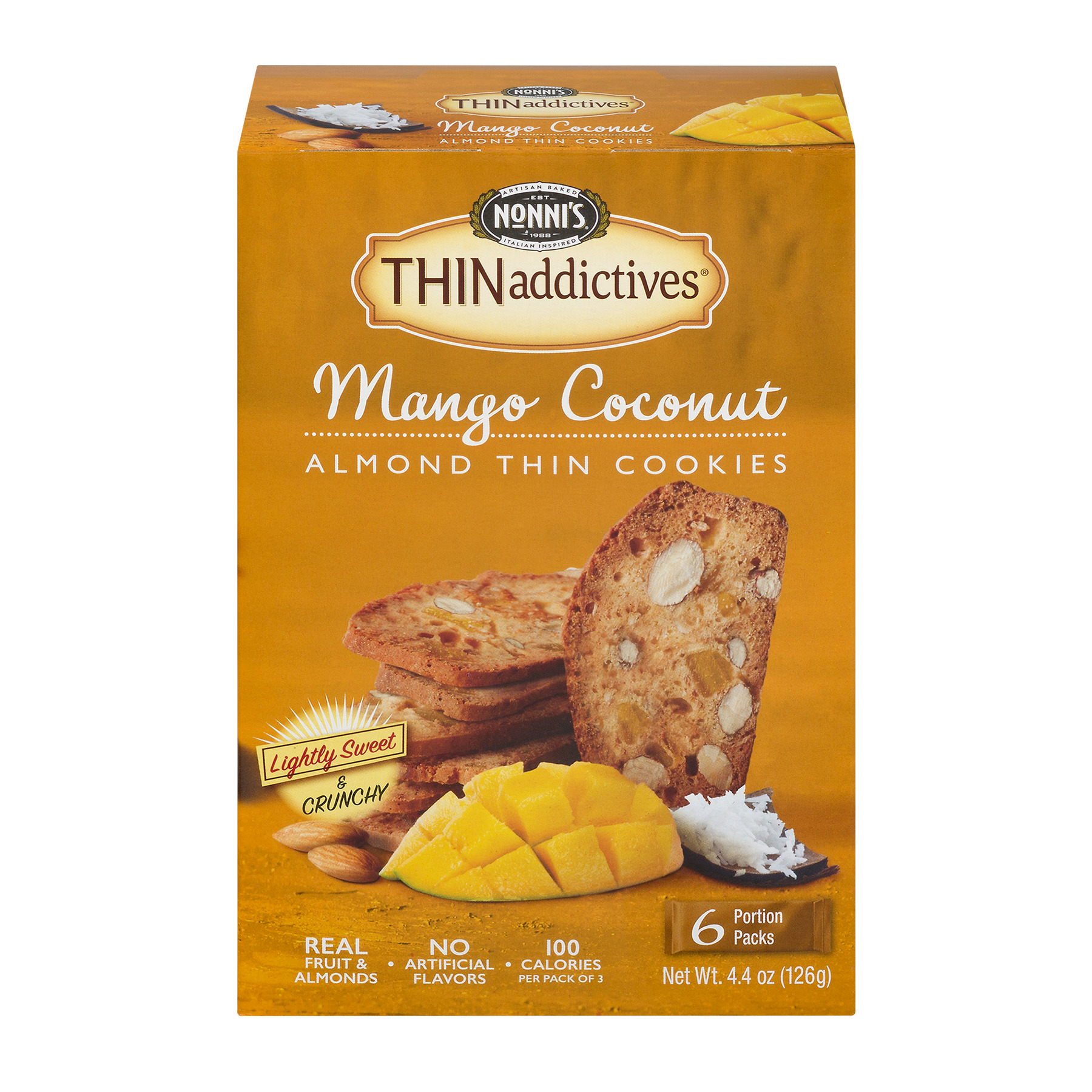 Nonni's Thinaddictives Mango Coconut Almond Thin Cookies, 4.4 Oz., 6 Count