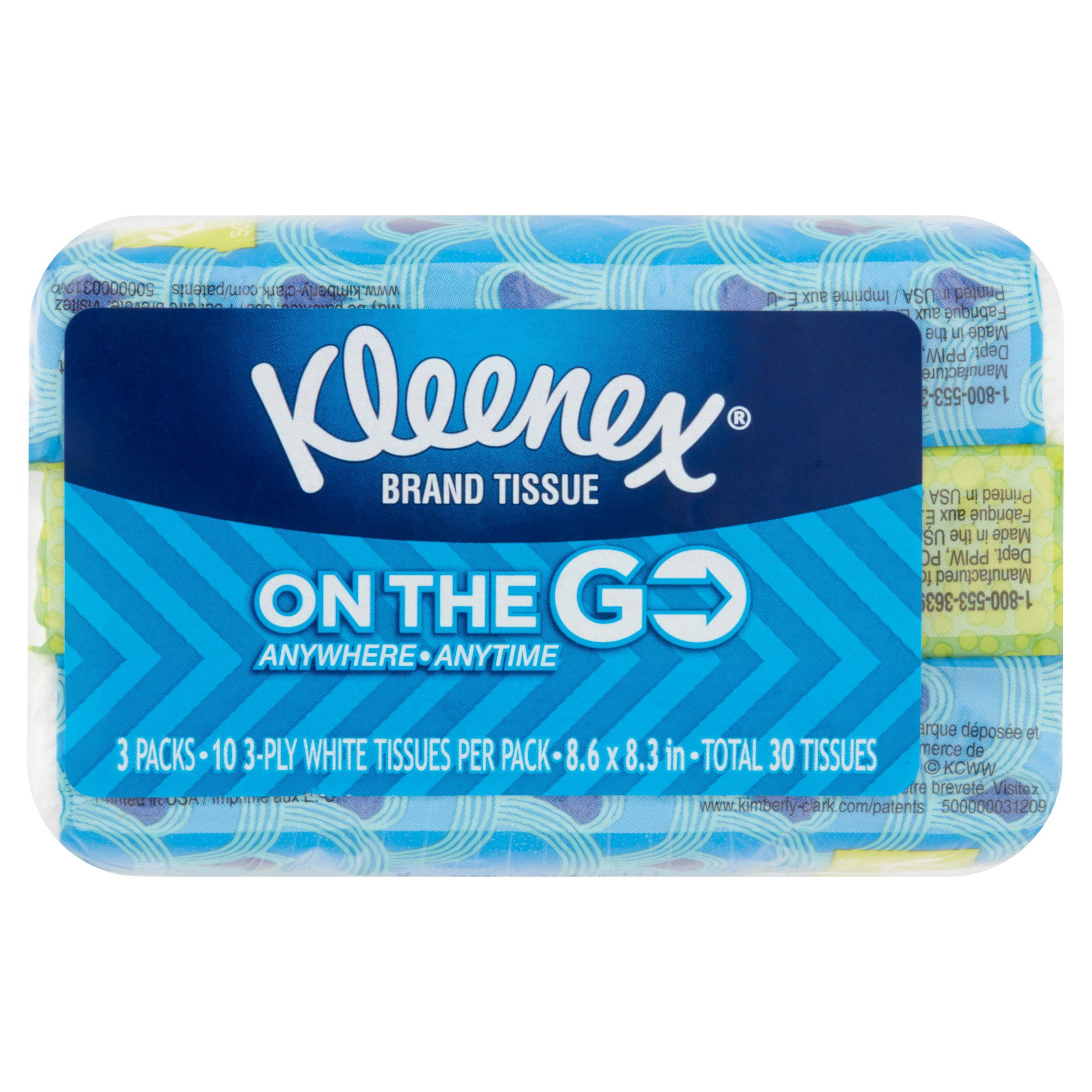 Kleenex On the Go Tissues, 10 Tissues, 3 Pack
