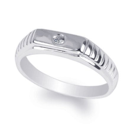 Ladies 10K White Gold 0.04ct Round CZ Fancy Solid Band Ring Size 4-10 10k Solid Gold Ladys Ring