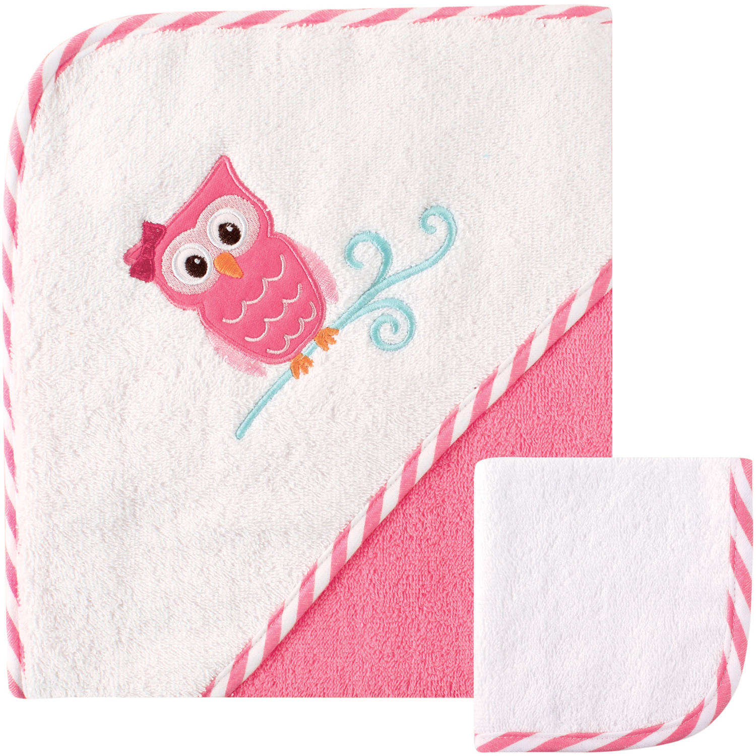 Luvable Friends Hooded Towel with Washcloth, Owl