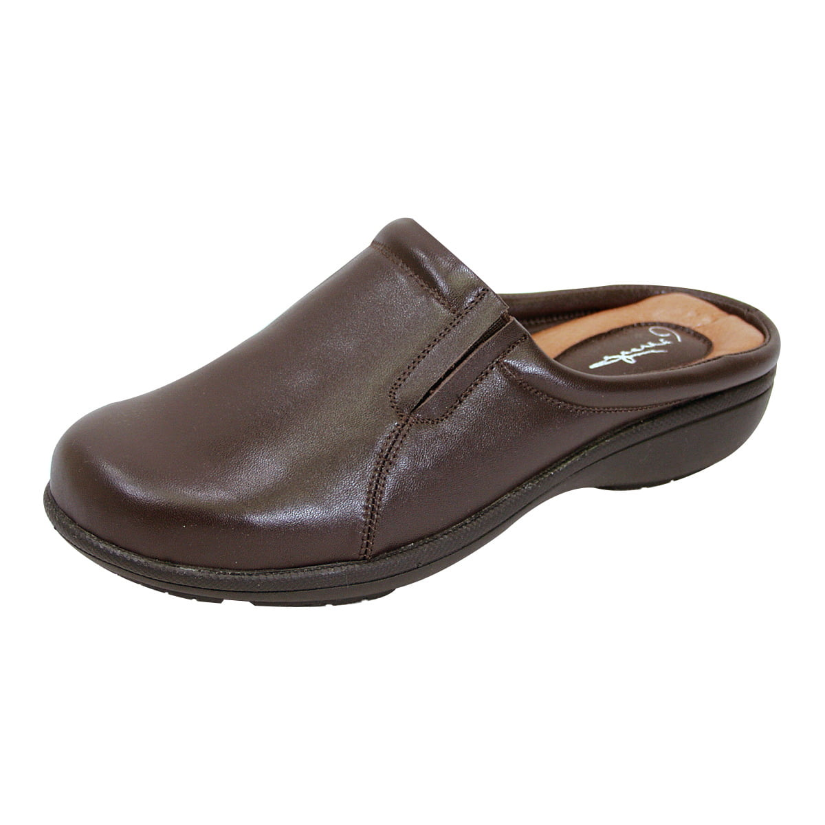 PEERAGE Mary Women Extra Wide Width Comfort Leather Clog BROWN 6.5