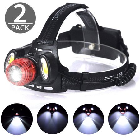 2-pack 15000LM LED Rechargeable Headlight, 4 Modes Flashlight LED Headlamp Zoomable Focus...