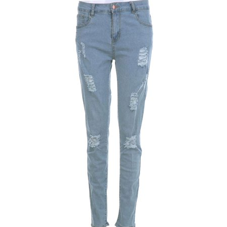 Men's Straight Denim Jeans Pants Trousers Slim Ripped Jean Skinny Biker Pants