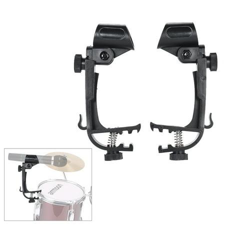 - 2pcs Clamp Clip On Drum Rim Microphone Mic Mount Holder Adjustable Shockproof