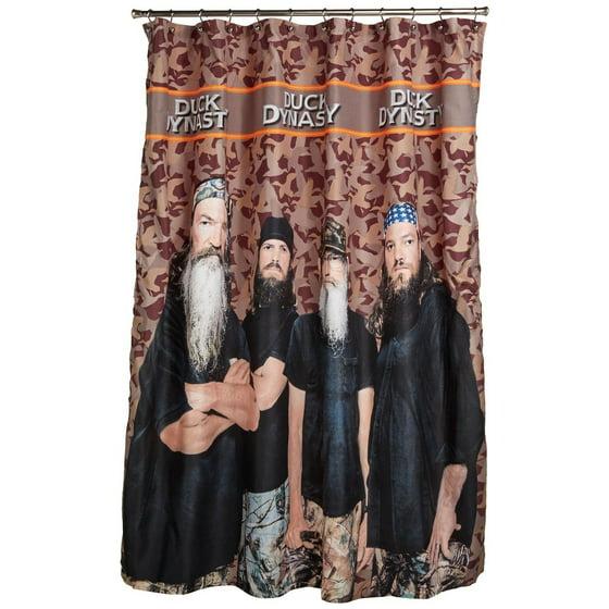 A E Duck Dynasty Camo Shower Curtain Orange Stripe