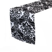 Your Chair Covers - 12 x 108 Inch Damask Table Runner White and Black