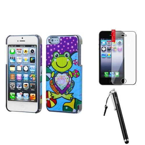 Insten Purple Lotus Frog/Silver Plating Case For iPhone 5S 5   Stylus   LCD Film