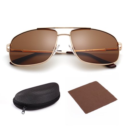 Polarized Sunglasses for Men with Case, Rectangular Gold Metal Frame, Retro Brown 61mm Shatterproof Lens, UV400 Protection, Spring Loaded Hinges ()