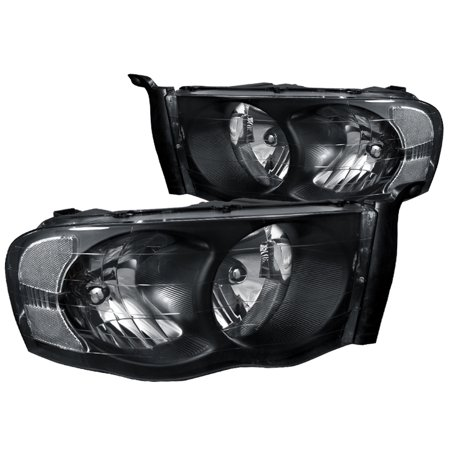 Spec-D Tuning For 2002-2005 Dodge Ram 1500 2500 Crystal Headlight Head Lamps Black 2002 2003 2004 2005 (Left+Right)