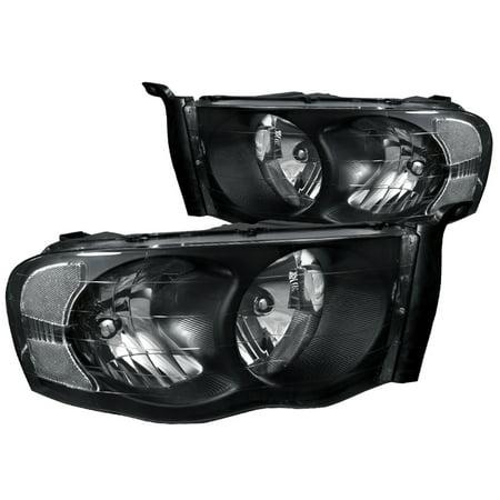 Spec-D Tuning For 2002-2005 Dodge Ram 1500 2500 Crystal Headlight Head Lamps Black 2002 2003 2004 2005 (Left+Right) Dodge Neon Crystal Headlights