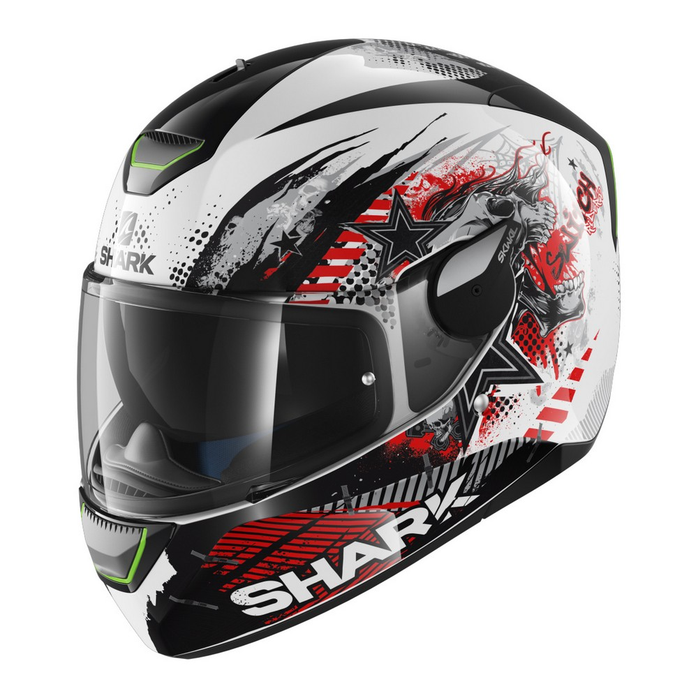 Shark Skwal Switch Riders Motorcycle Helmet White/Black/Green LED