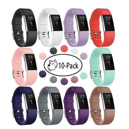 10 Pack Compatible with Fitbit Charge 2 Bands, Silicone Replacement Strap with Secure Metal Clasp for Fitbit Charge 2 Women Men - image 9 de 9