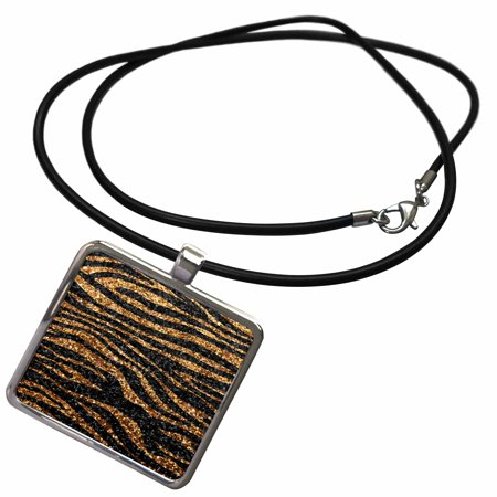 3dRose Gold and Black Zebra print - faux bling photo Not Actual Glitter - fancy diva girly sparkly sparkles - Necklace with Pendant (ncl_113173_1) (Diva Gold Necklace)