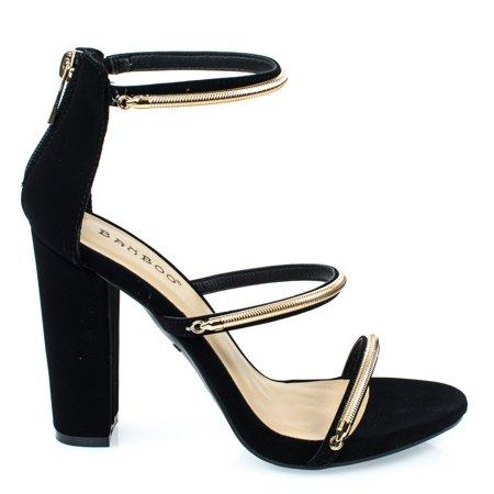 Limelight34M by Bamboo, Black Triple Metal Chain Block Heel Dress Sandal. Women