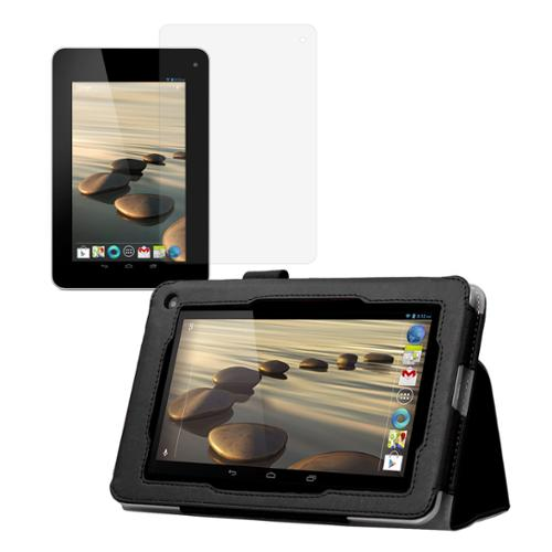 Black Double-Fold Folio Case with Screen Protector for Acer Iconia