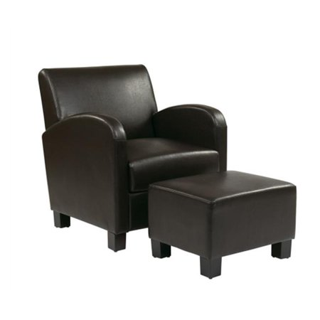 Avenue 6 Office Star MET807 Faux Leather Club Chair With Ottoman Expresso