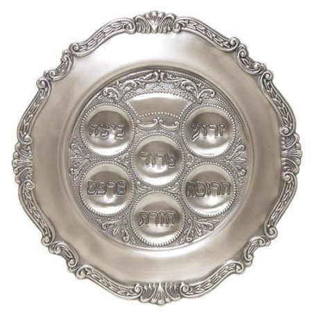 Gloria's Gifts Silver Plated Pesach Passover Seder (Metal Seder Plate)