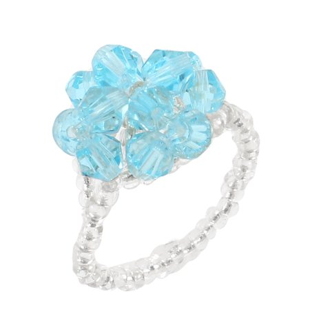 Unique Bargains  Blue Beads Linked Four Leaf Clover Finger Ring US 5 1/4 for Women