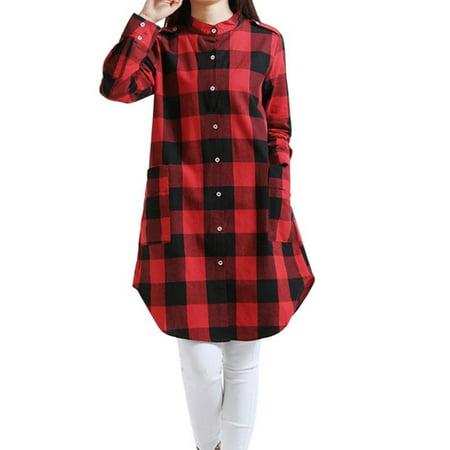 Lavaport Women Retro Plaid Checks Shirt Long Sleeve Casual Dress Loose Top Retro Shirt Dress