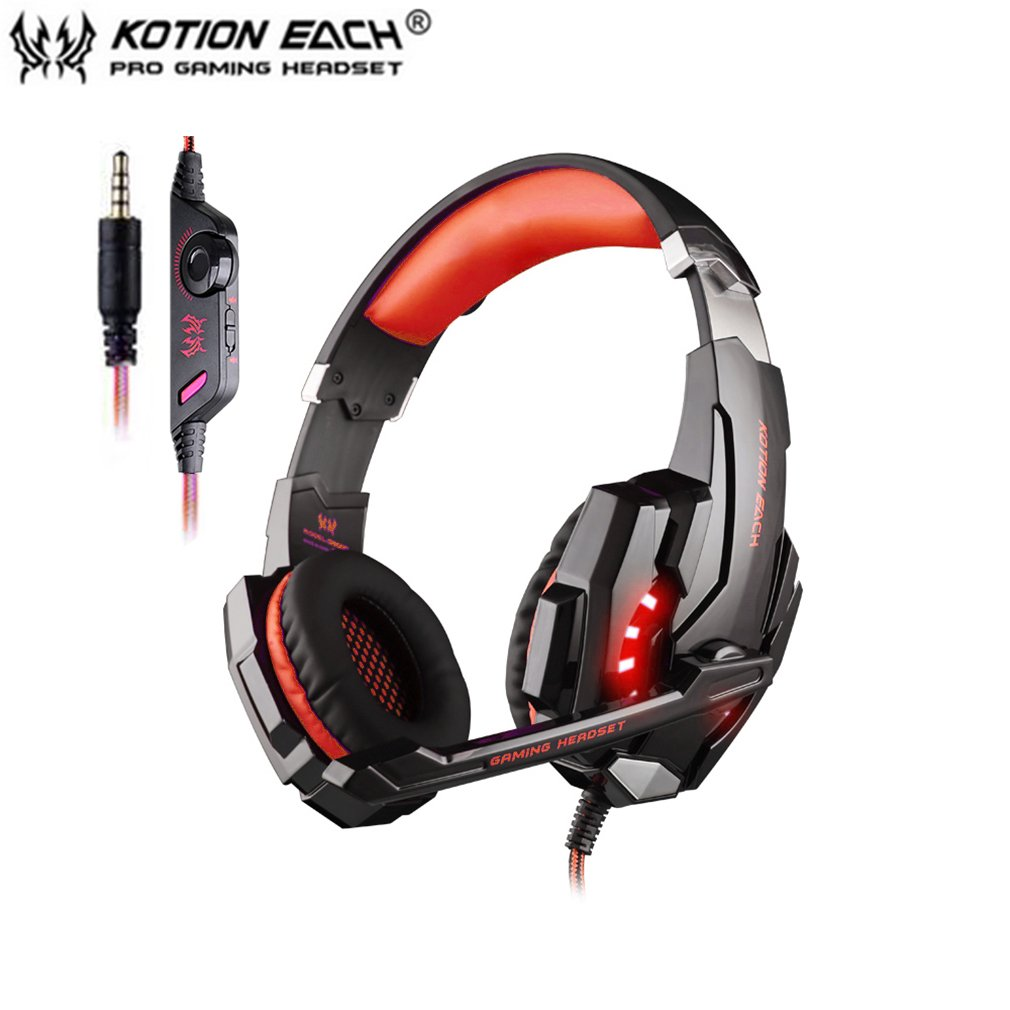 EACH G9000 3.5mm Gaming Headphone Microphone USB Single Hole Headset LED Light For PS4 Laptop Tablet Mobile Phones