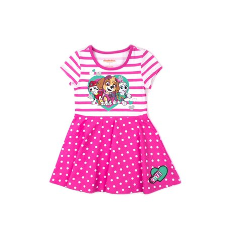Little Girls' 4-6X Striped Graphic Fit and Flare Dress