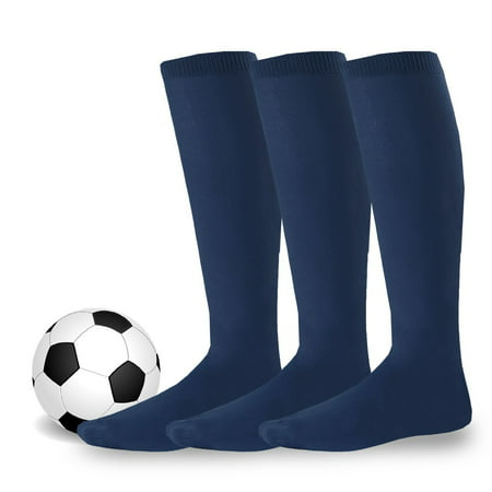 Soxnet Acrylic Unisex Soccer Sports Team Cushion Socks 3 Pack (Youth (5-7), Navy) - Orange Knee Socks