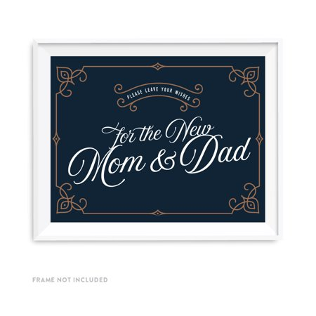 Navy Blue Art Deco Vintage Party Baby Collection Signs, Please Leave Your Wishes for the New Mom and Dad, (Delco Collection)