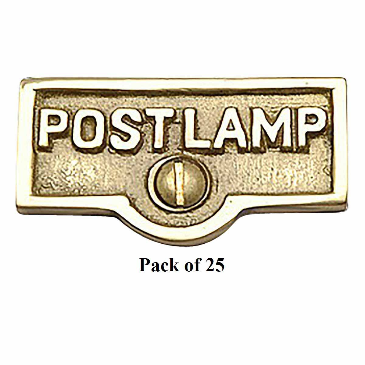25 Switch Plate Tags POST LAMP Name Signs Labels Brass | ...