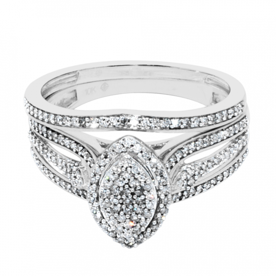 10K White Gold Bridal Rings Set Marquise Style Pave Set 1/3cttww Diamonds 11mm Wide(0.33cttw)