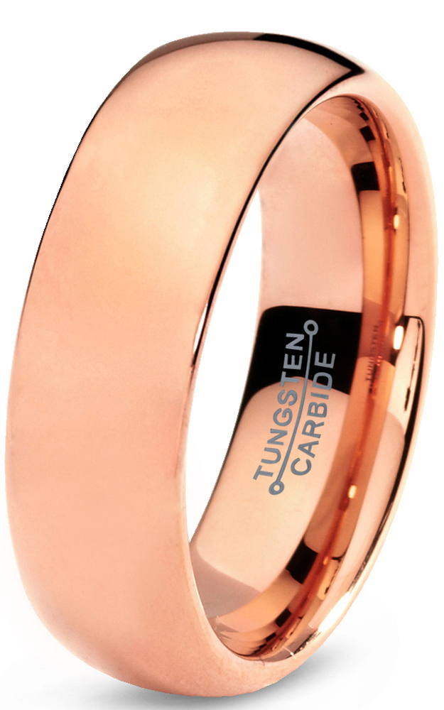 Tungsten Wedding Band Ring 7mm for Men Women Comfort Fit 18K Rose Gold Plated Plated Domed Polished Lifetime Guarantee
