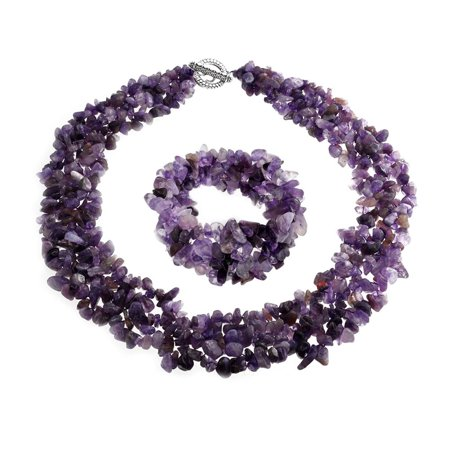 Chunky Purple Amethyst Stone Chips Statement Bib Necklace For Women Collar Stretch Bracelet For Women Set 18 (Purple Amethyst Chips)