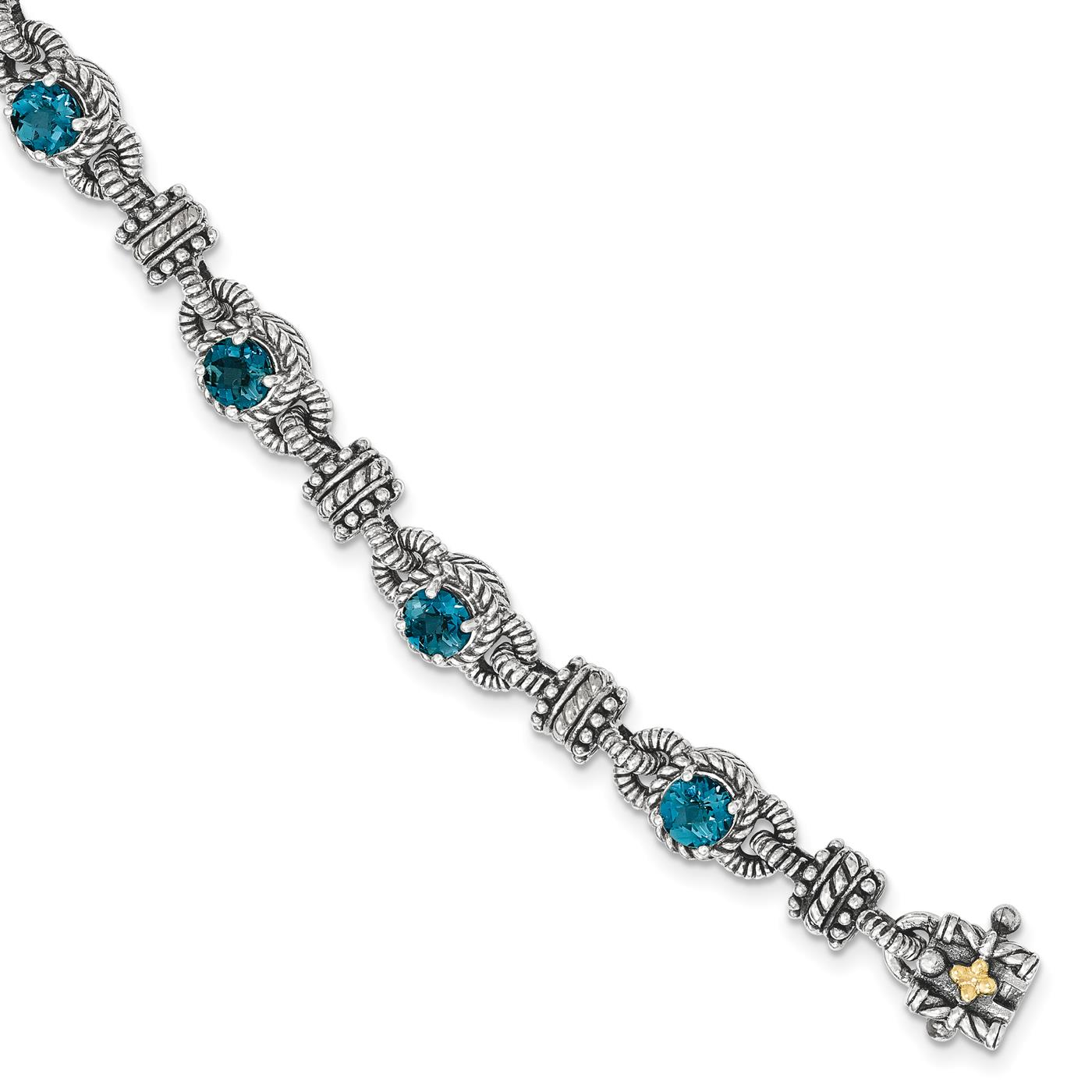"Shey Couture 925 Sterling Silver w 14k London Blue Topaz Bracelet 7.5"" by Fusion Collections"