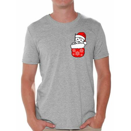 awkward styles pocket cat christmas shirt mens holiday tee christmas cat christmas tshirts for men kitten in pocket shirt funny tacky party holiday xmas