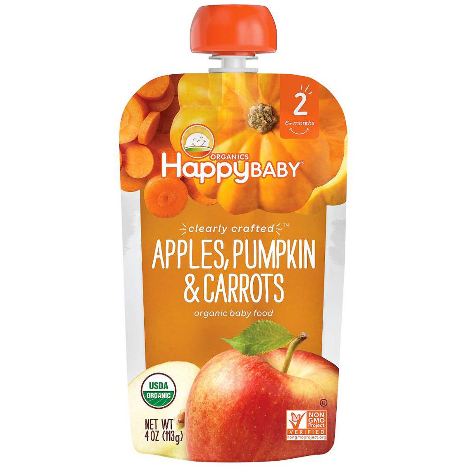 Nurture Inc. (Happy Baby), Organic Baby Food, Stage 2, Clearly Crafted, Apples, Pumpkin & Carrots, 6+ Months, 4 oz(pack of 4)