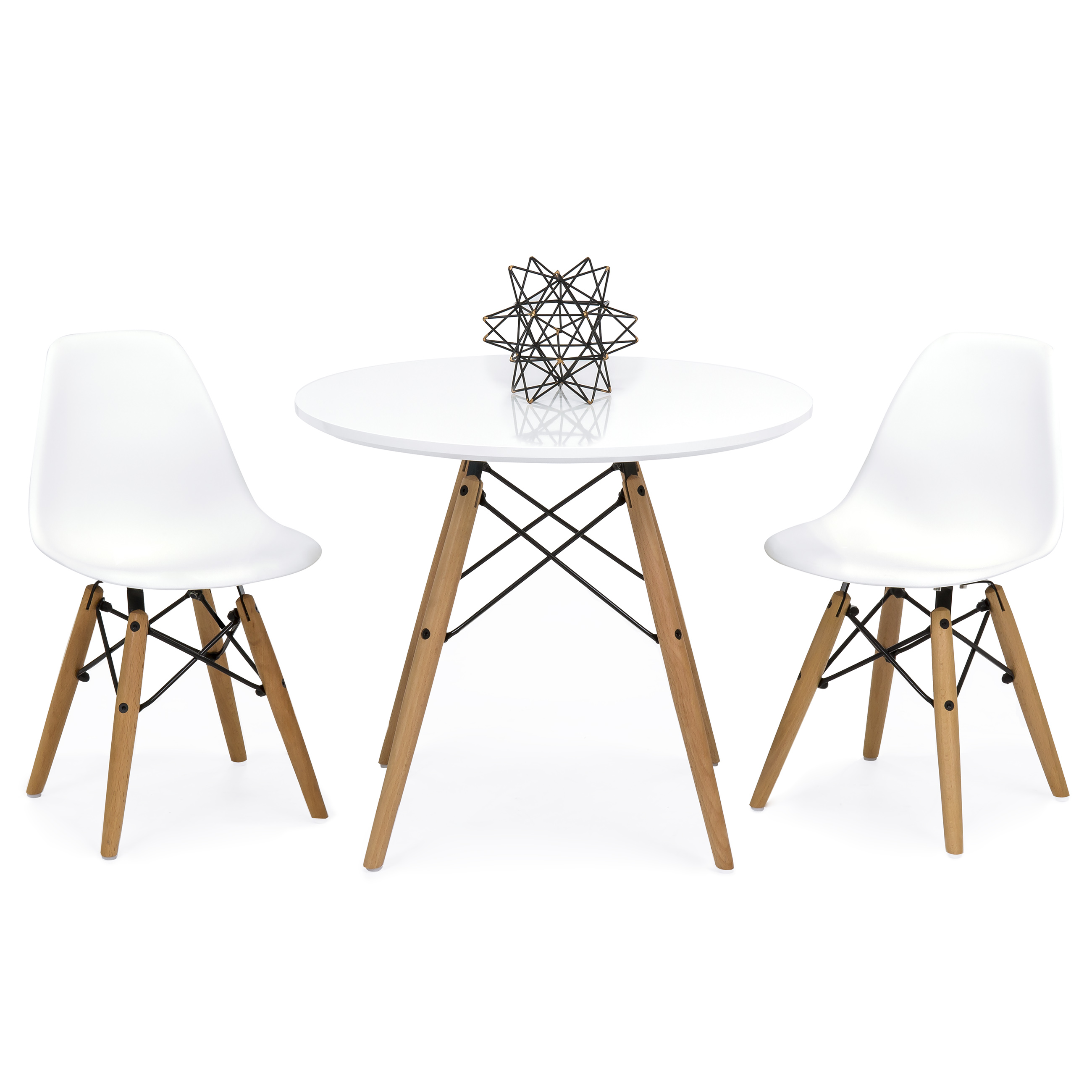 Best Choice Products Kids Mid-Century Modern Eames Style Dining Room Round Table Set w 2 Armless Wood Leg Chairs White by Best Choice Products