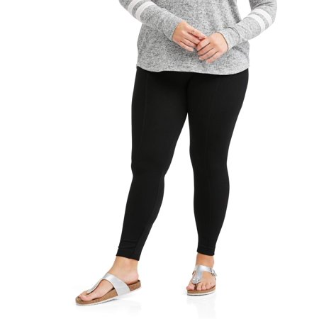 22af291399c Poof Apparel - Juniors  Plus Size Textured Fleece Lined Leggings With  Slimming Front Seam - Walmart.com