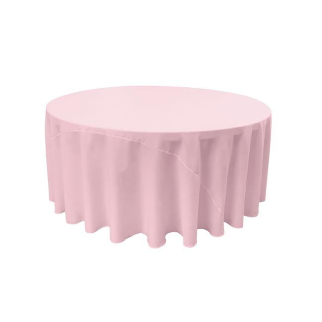 LA Linen TCpop108R-PinkLgtP37 Polyester Poplin Tablecloth, Light Pink 108 in. Round by LA Linen