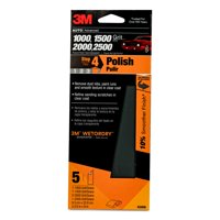3M Wetordry Sandpaper, 03006, Assorted Fine Grits, 3 2/3 inch x 9 inch, 5/Pack