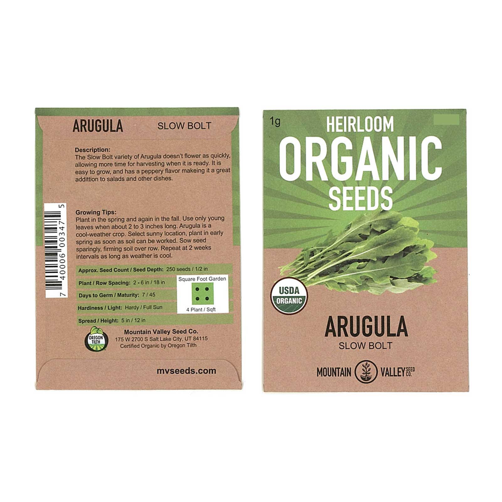 Organic Arugula Seeds 3 Gram Packet: Approx 1400 Seeds Leafy Green Salad Garden Seeds: Microgreens, Baby Greens by Mountain Valley Seed Company