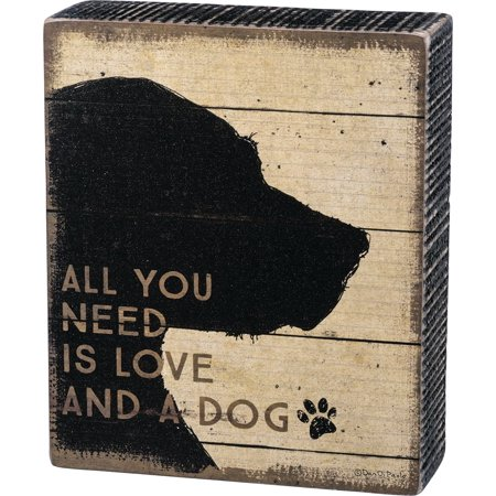 All You Need is Love and A Dog Silhouette Wood Box Sign Decoration 33716 Pet New](Dog Decorations)