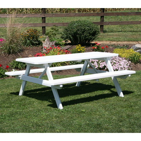 A & L Furniture Yellow Pine Picnic Table with Attached