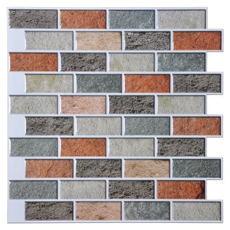 "Art3d Peel and Stick Kitchen Backsplash Self Adhesive Subway Tile, 12""x12"" Faux Stone Mosaic (10 Pack)"