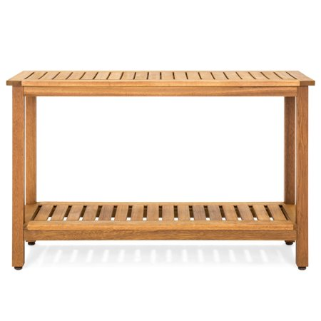 Best Choice Products 48-inch 2-Shelf Indoor Outdoor Multifunctional Eucalyptus Wood Buffet Bar Storage Console Table Organizer, Natural ()