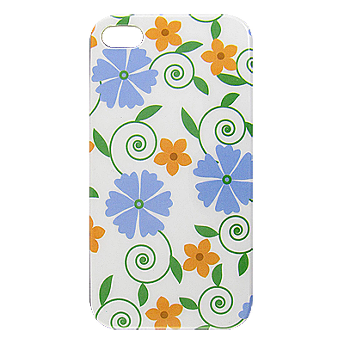 Blue Brown Flower Hard IMD Back Case Protector Cover for iPhone 4 4S 4G 4GS