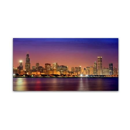 Dusk Fine Art (Trademark Fine Art 'Chicago Dusk full skyline' Canvas Art by Mike Jones Photo )